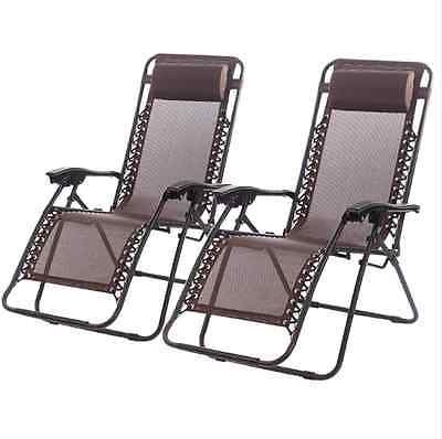 New Zero Gravity Chairs Case Of 2 Lounge Patio Chairs Outdoor Yard Beach  O62 (Brown