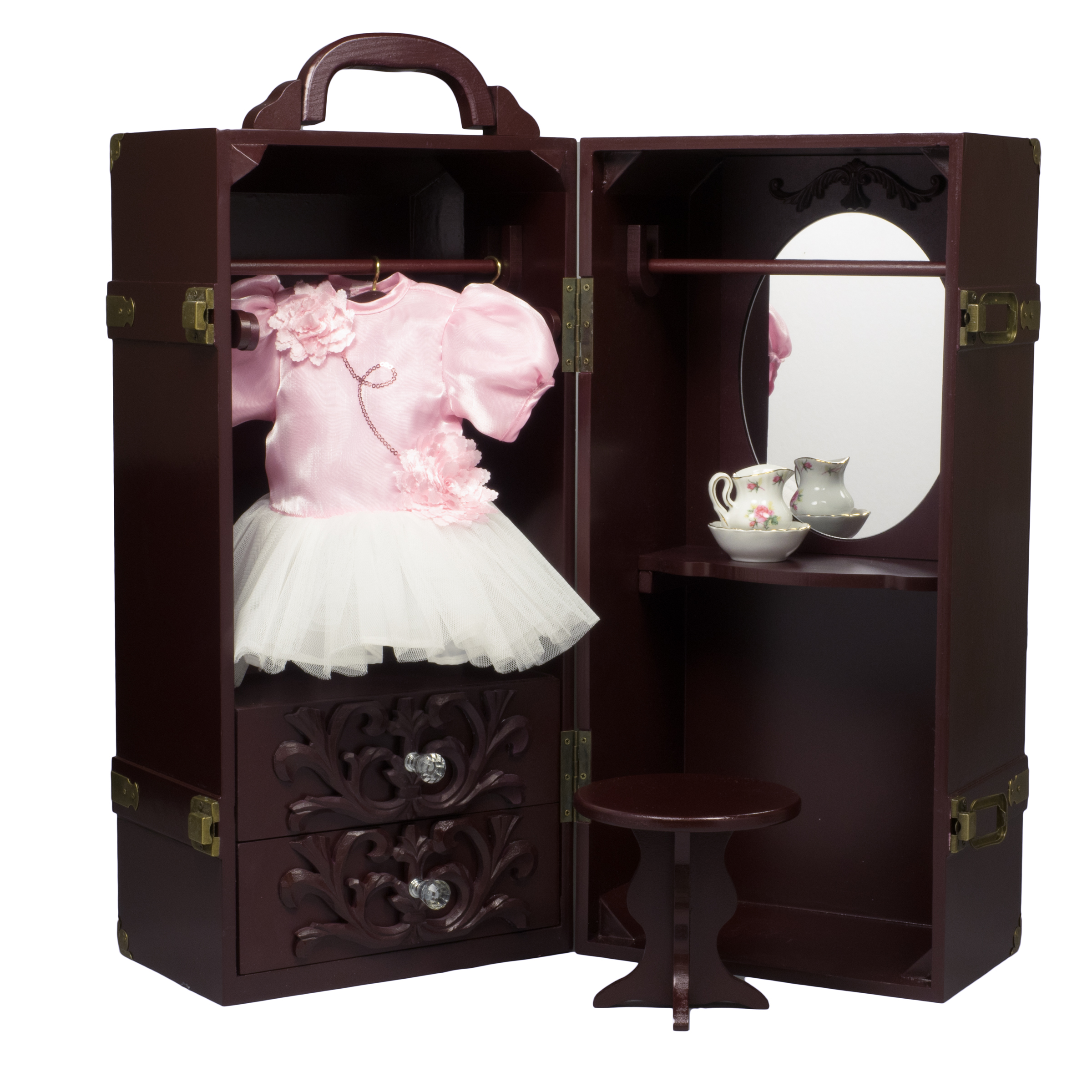 "18"" Doll & Clothes Storage Case Furniture for 18"" Dolls. Wooden Doll Trunk, vanity, stool, hangers"