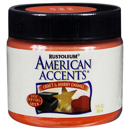 Rustoleum American Accents Glow Orange Craft & Hobby Brush Enamel Paint 209638 - Pack of 6