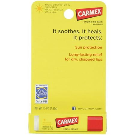 Carmex Cliquez-Stick Baume hydratant pour les lèvres SPF 15 Original 0,15 oz (Pack de 6)