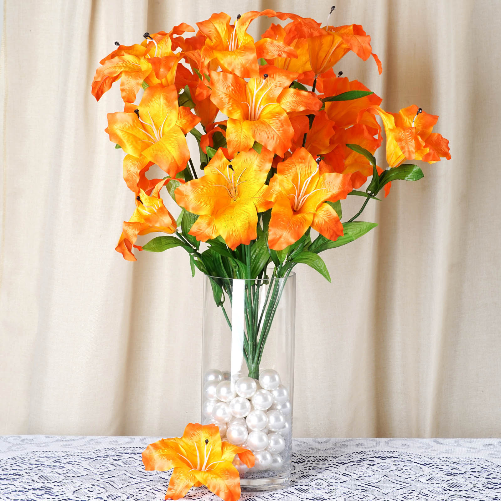 BalsaCircle 54 Extra Large Lilies Artificial Silk Flowers - DIY Home Wedding Party Bouquets Arrangements Centerpieces