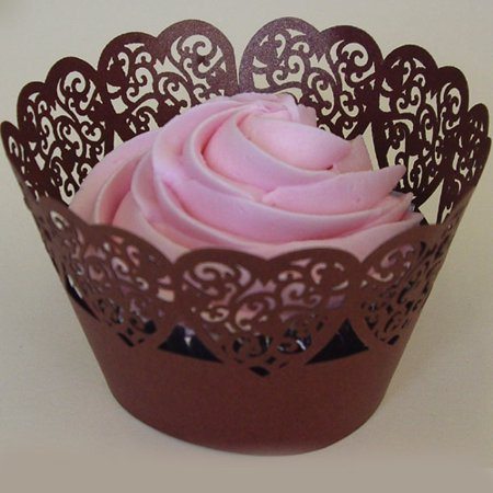Lace Cupcake Liners (PME Cupcake Wrapper Hearts Lace Design, Color:)