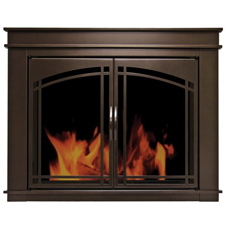 Pleasant Hearth Fenwick Glass Firescreen Oil Rubbed Bronze - Medium ()