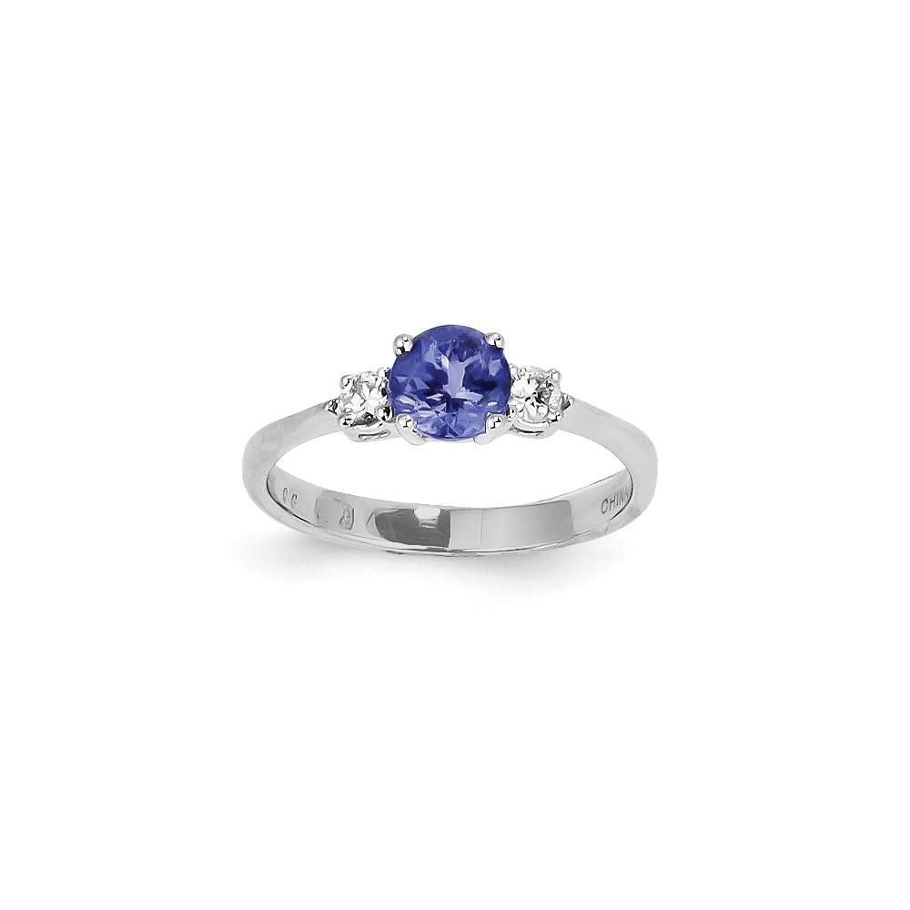 14K White Gold Round Tanzanite Diamond Gem. Ring