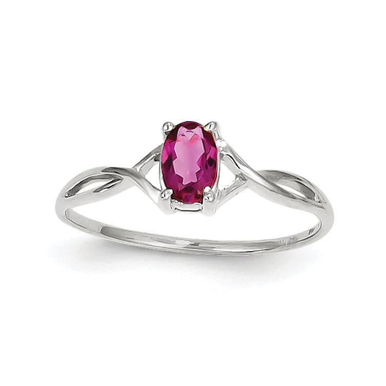 14k White Gold Pink Tourmaline Birthstone Ring Size 7 by