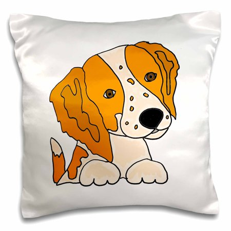 3dRose Funny Cute Brittany Spaniel Puppy Dog Art Original - Pillow Case, 16 by 16-inch