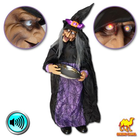 Strong Camel Halloween Animated Witch with Sound Sensor Ghost Lighted Eyes Motion Sensor - Halloween Motion Sensor Eyes