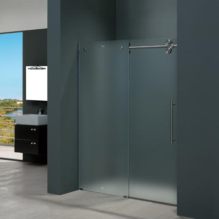 Vigo Vg6041stmt6074r 60 Inch Frameless Shower Door 37 Frosted Gl Stainless Steel