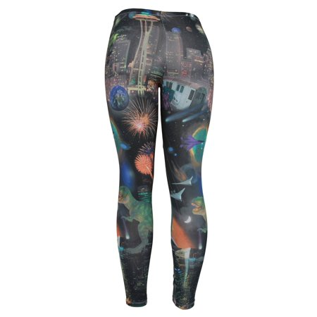 3342228d7140e Space Kitten - Dinosaurs Fireworks and Aliens Ladies Basic Leggings Shear  Tights - Walmart.com