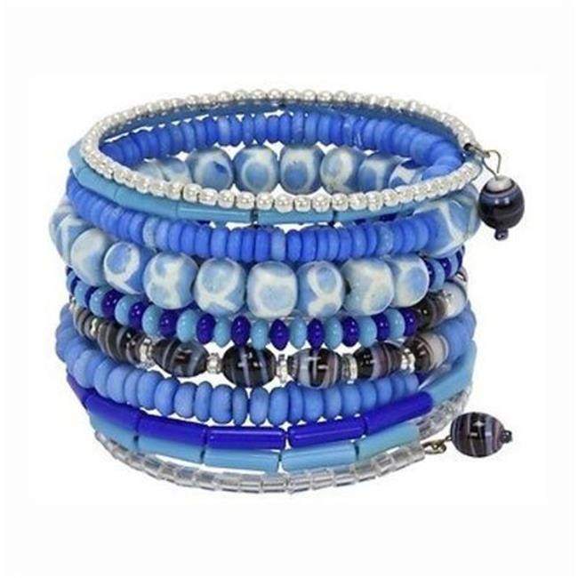 CFM Ten Turn Bead and Bone Bracelet, Light Blues