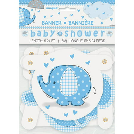 Blue Elephant Baby Shower Banner, -