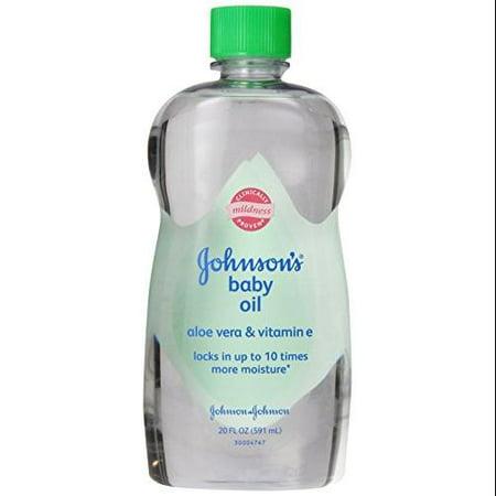 Johnsons Baby Oil Aloe Vera & Vitamin E 20 fl oz (Pack of ...
