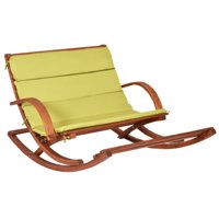 GHP 520-Lbs Capacity Russia Larch Wood Outdoor Lounge Rocking Chair w Green Cushion