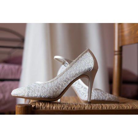 Canvas Print Wedding Lace Shoe White Woman Bride Stretched Canvas 10 x