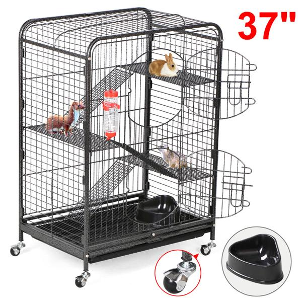 Yaheetech 37'' Metal Ferret and Small Animal Cage - Black