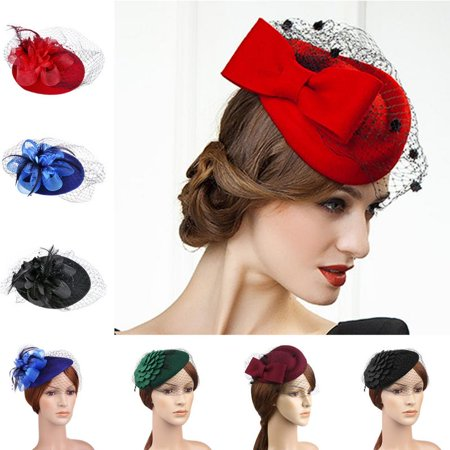 Womens Lady Elegant Fascinator Wool Felt Hat Party Bow Veil Hair Clip Cocktail Church Party Wedding (Mini Top Hat With Veil)