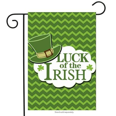 Flags Of Ireland (luck of the irish st. patrick's day garden flag leprechaun hat 12.5