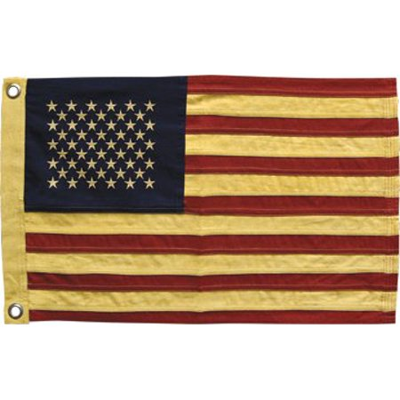 Small American Flag Aged Embroidered Stars Red White Heavy Cotton Stripes Country Primitive Patriotic (American Flag Black And White Blue Stripe Meaning)