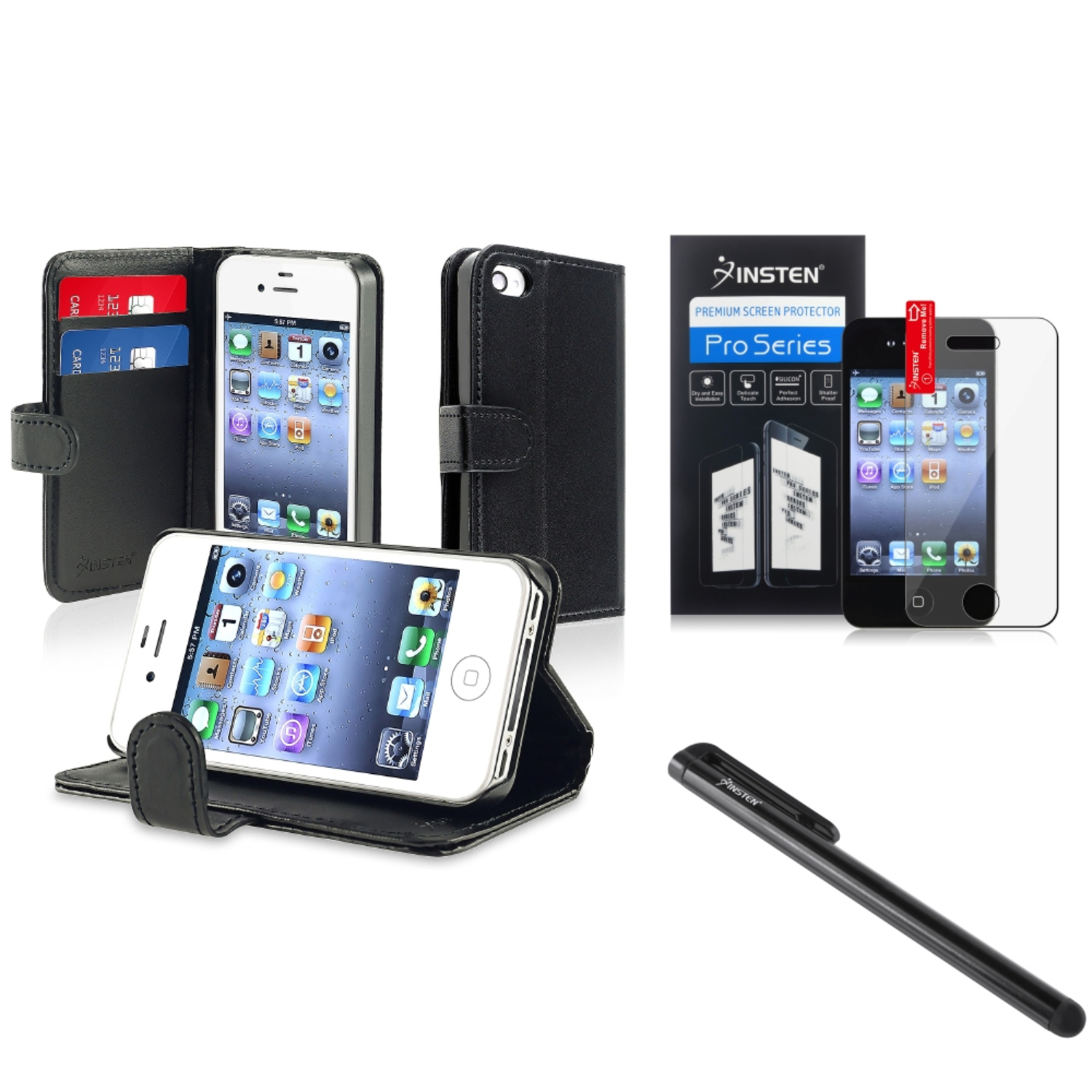 Insten Black Wallet Leather Pouch Case Cover Stylus SPT For iPhone 4 4G 4th 4S