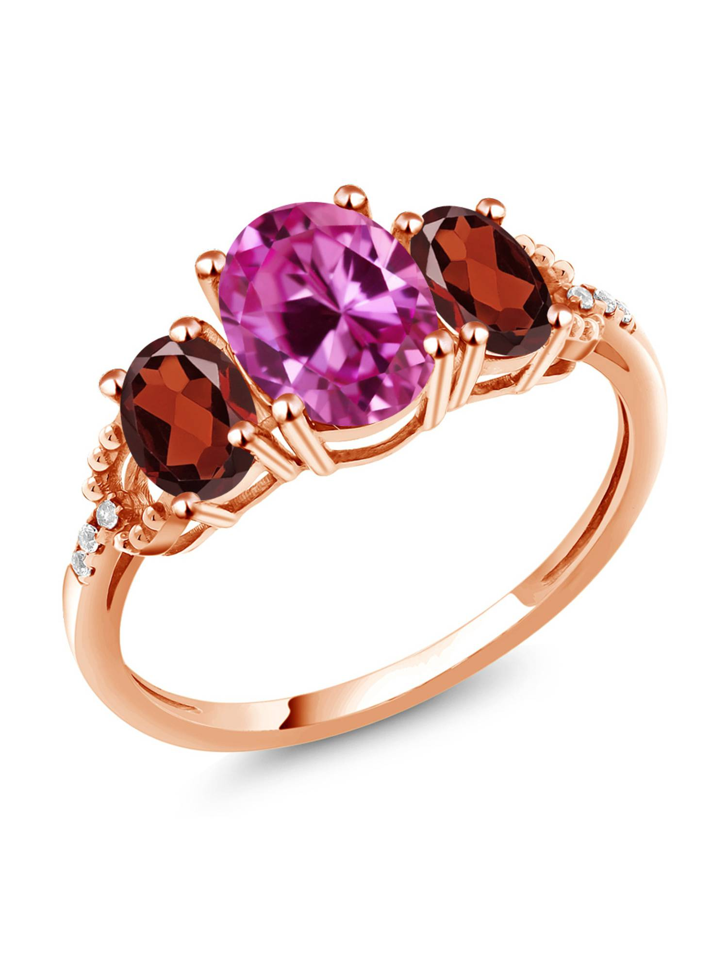 2.69 Ct Oval Pink Created Sapphire Red Garnet 10K Rose Gold Diamond Accent Ring by