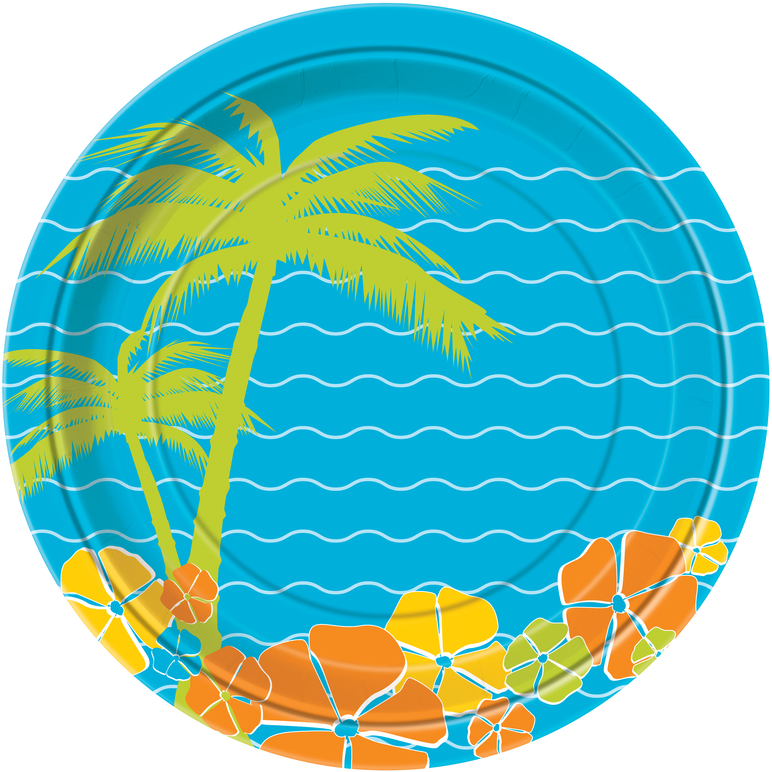 Unique Hawaiian Paradise Island Luau Party Paper 9'' Dinner Plates, 8 Pack