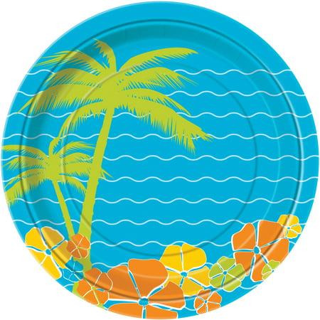 Unique Hawaiian Paradise Island Luau Party Paper 9'' Dinner Plates, 8 Pack - Hawaiian Paper Plates