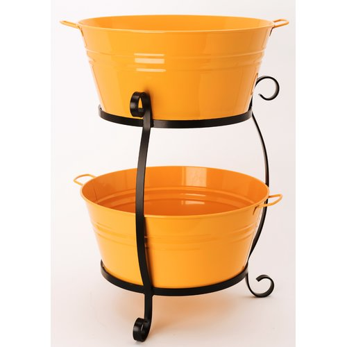 Charlton Home Tre Enameled Galvanized Double Beverage Tub