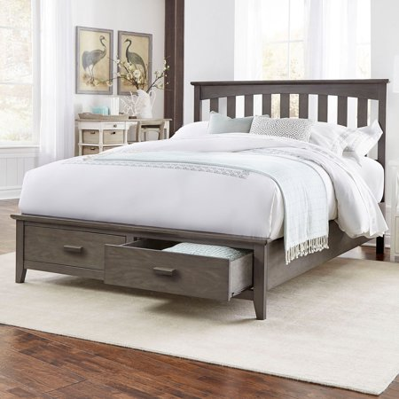 (Hampton Complete Wood Storage Bed and Bedding Support System with (2) Footboard Drawers, Beachwood Grey Finish, Twin)