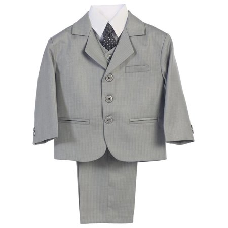 Boys Light Grey Jacket Vest Necktie Shirt Pants 5 Pc Suit