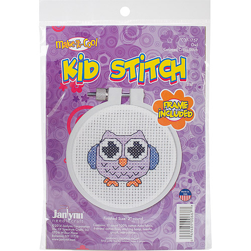 "Kid Stitch Owl Mini Counted Cross-Stitch Kit, 3"" Round, 11-Count"