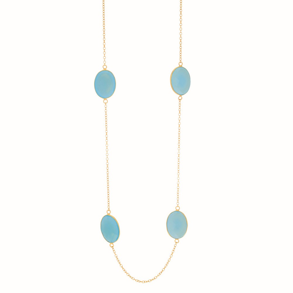 Yellow Finish Shiny Oval Cable Chain Necklace Stationed 9 Aqua Chalcedony- Oval Checker 38 Inch by