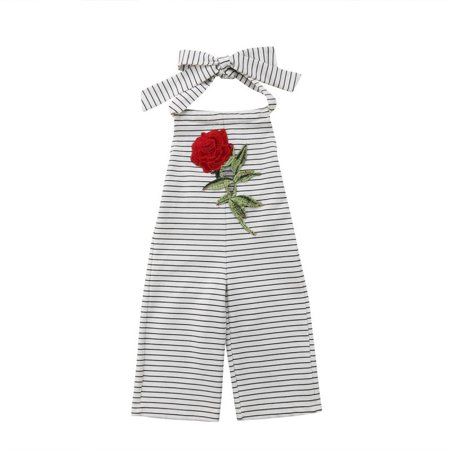 Infant Girl One Piece Floral Sleeveless Backless Romper Toddler Striped Wide Leg Pants Overalls Jumpsuit 0-5T](Striped Overalls)