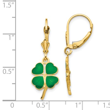 14k Yellow Gold Enameled Clover Leverback Earrings Lever Back Drop Dangle Good Luck Fine Jewelry Gifts For Women For Her - image 2 de 7