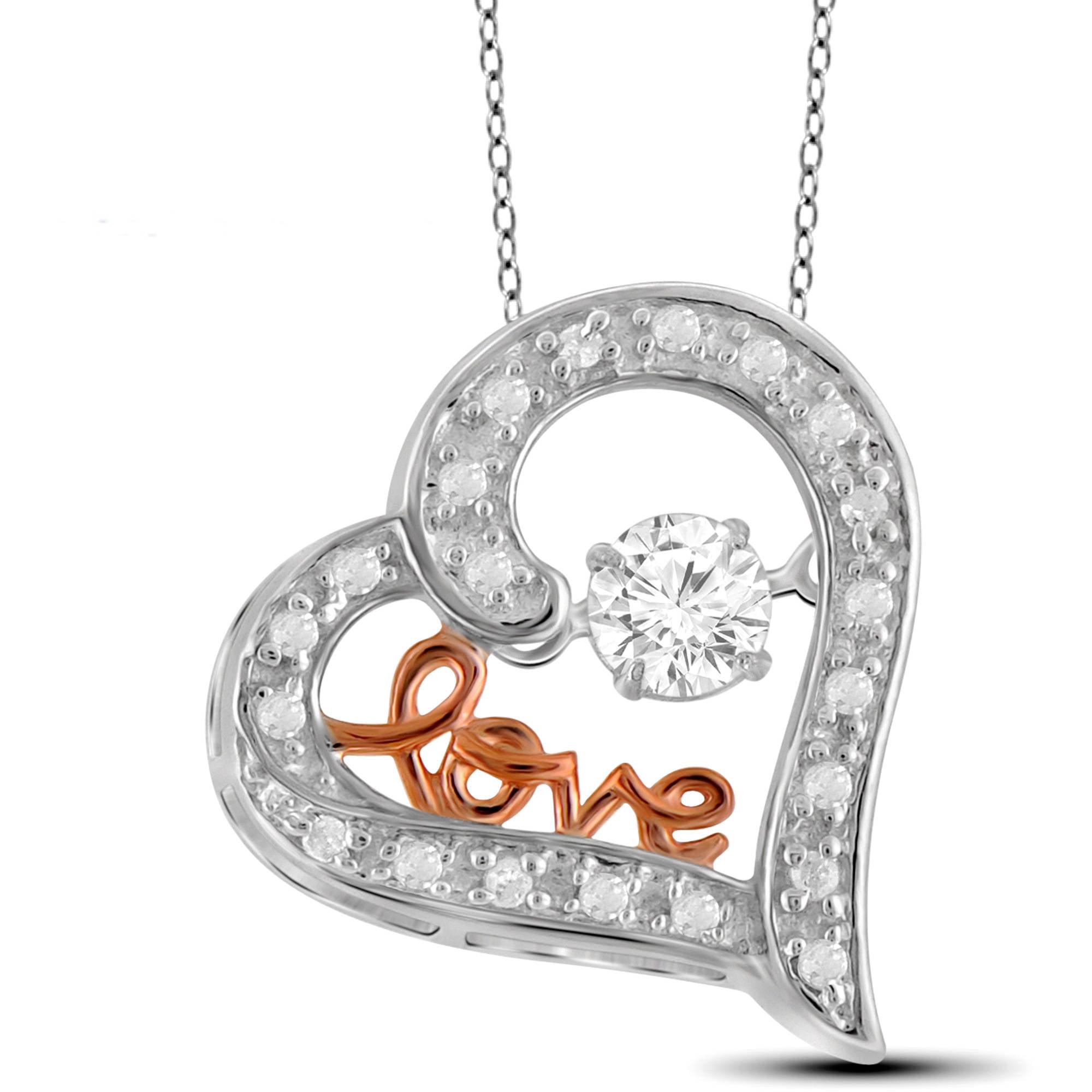 Diamonds in the Sky 1 5 Carat T.W. White Diamond 2-tone 10kt White Gold Love Heart Pendant by Diamonds in the Sky
