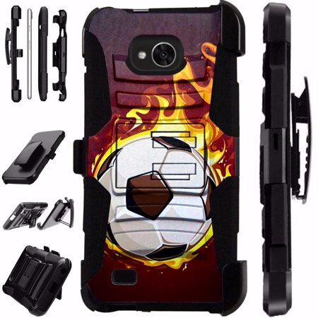 For LG X Power 2 Case / X Charge Case / Fiesta LTE Case / K10 Power Case Heavy Duty Hybrid Armor Dual Layer Cover Kick Stand Rugged LuxGuard Holster (Flaming Soccer Ball)
