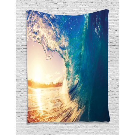 Ocean Tapestry, Ocean Wave at Sunrise Reflection on Surface Tropical Trees Shoreline Summer Picture, Wall Hanging for Bedroom Living Room Dorm Decor, Teal Yellow, by Ambesonne