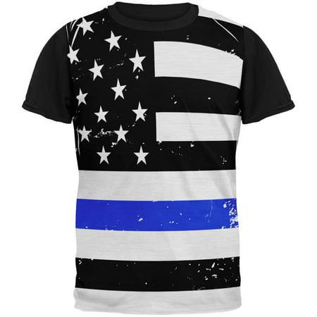 ... Blue Line American Flag All Over Mens Black Back T Shirt - Walmart.com
