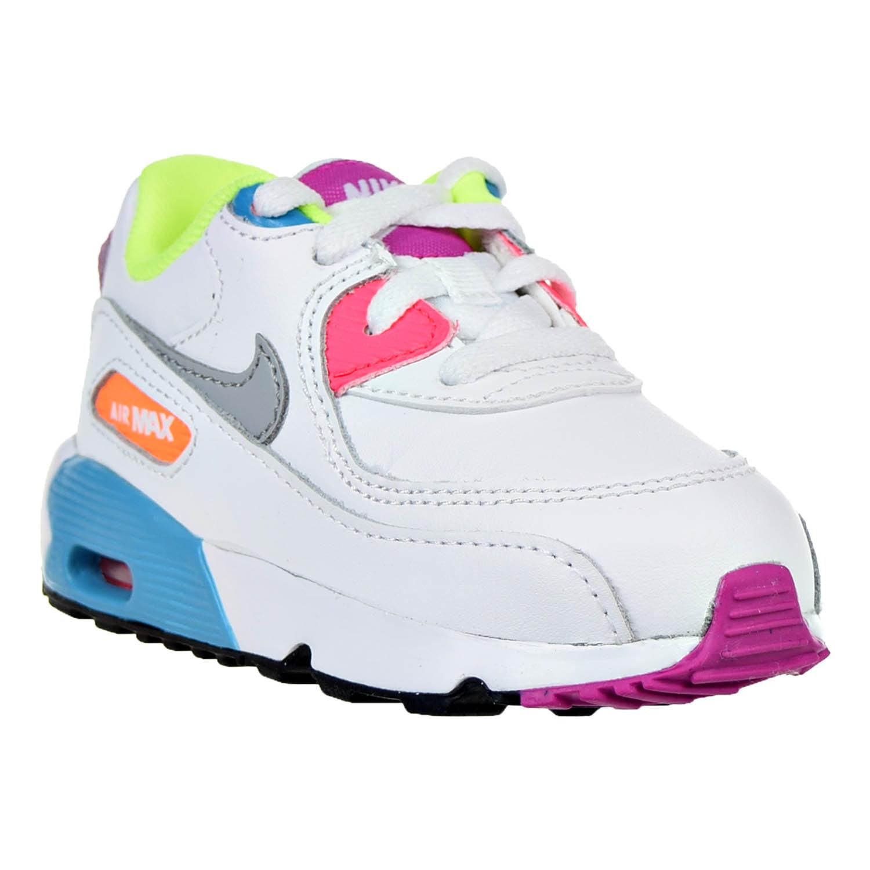 Filles Nike Air Max 90 Chaussures De Course En Cuir Blanc / Loup Gris / Chlore Bleu / Rose