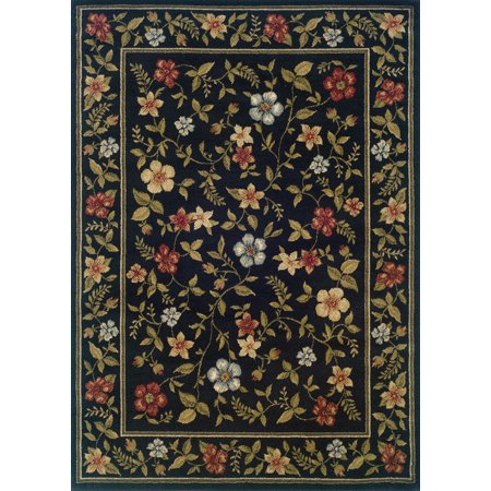 - Moretti Plaid Area Rugs - 1196D Country & Floral Black Floral Border Vines Border Rug