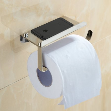 Bathroom Tissue Holder With Phone Shelf Angle Simple Sus304 Stainless Steel Toilet Paper
