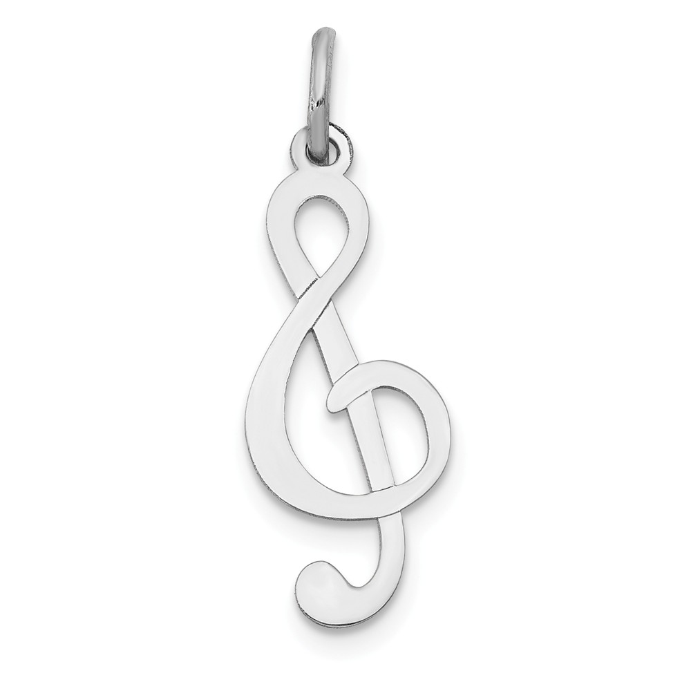 14k White Gold Musical Series Polished Treble Clef Pendant