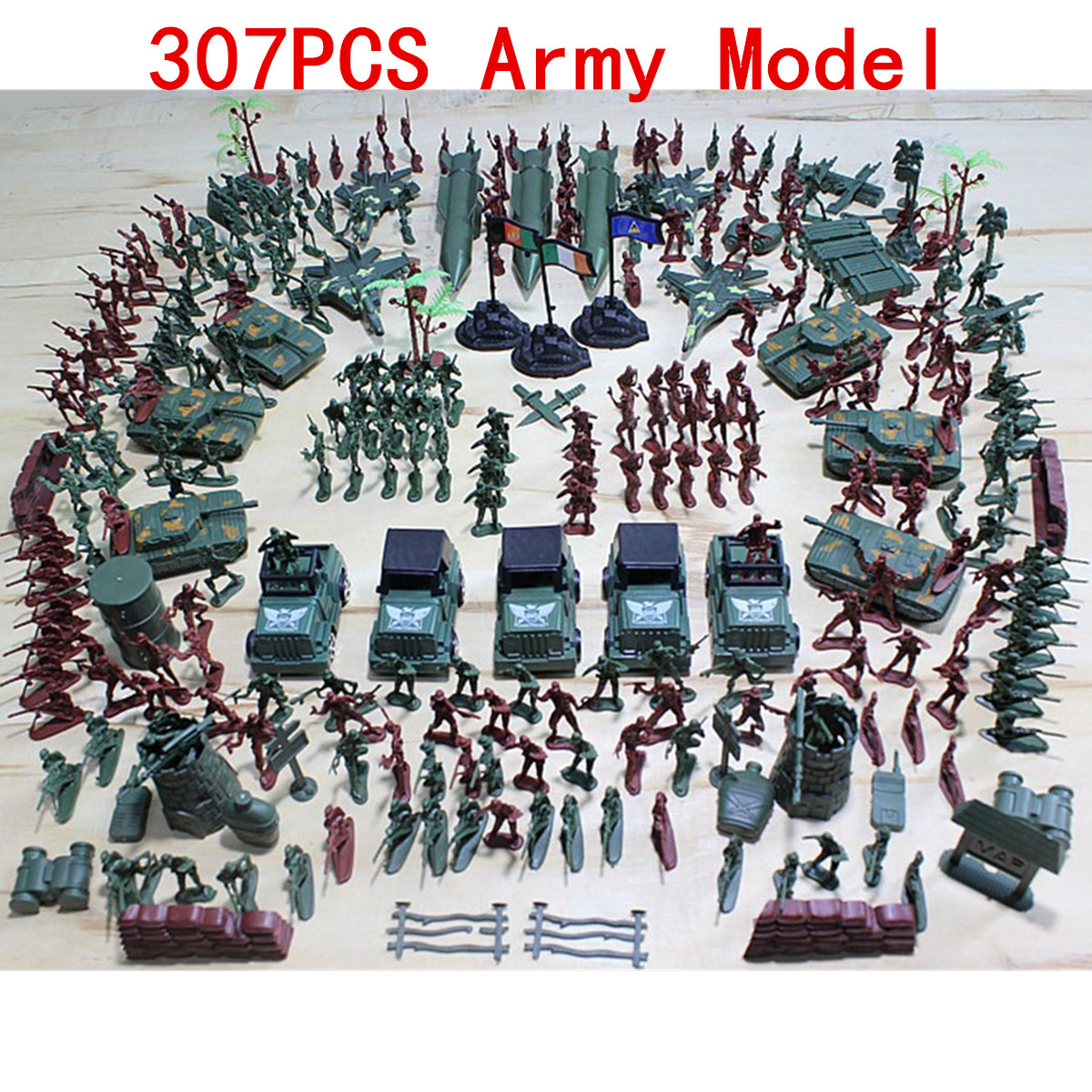 307 Pcs set Soldier Kit Grenade Tank Aircraft Rocket Army Men Sand Scene Model Toy by