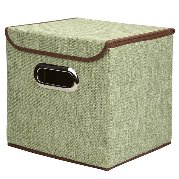 Multifunction Foldable Storage Box Cube Basket Bin with Lid Green