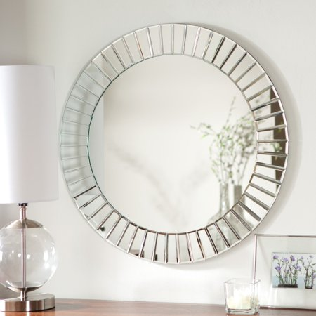 D  233 Cor Wonderland Fortune Modern Frameless Beveled Wall Mirror   27 6 Diam  In