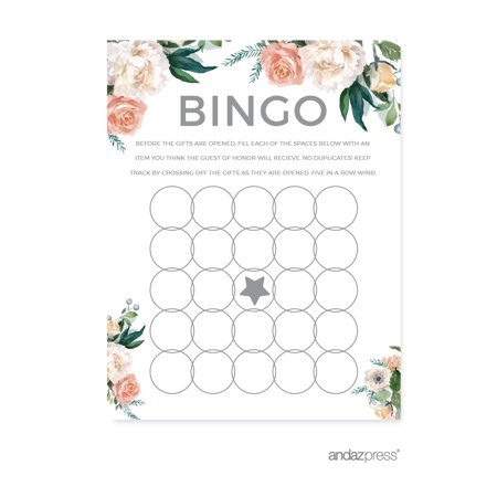 Party Bingo (Peach Coral Floral Garden Party, Bridal Shower Bingo Game Cards,)