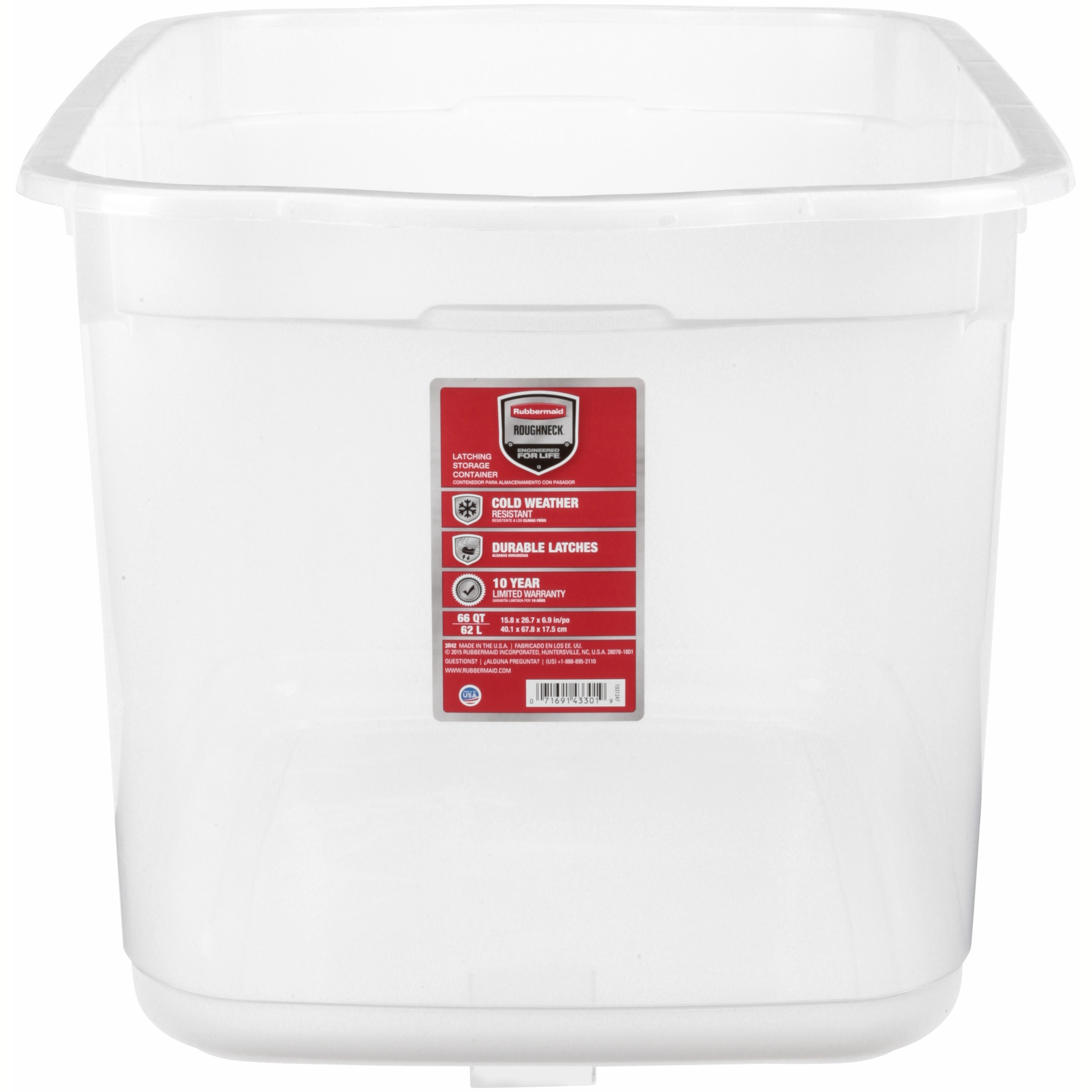Rubbermaid Roughneck 66 Qt. (16.5 Gal) Clear Storage Tote Bin Clear with Blue Lid - Walmart.com  sc 1 st  Walmart : plastic storage boxes with wheels  - Aquiesqueretaro.Com