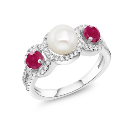 - 1.40 Ct Round Cultured Freshwater Pearl Red Ruby 925 Sterling Silver Ring