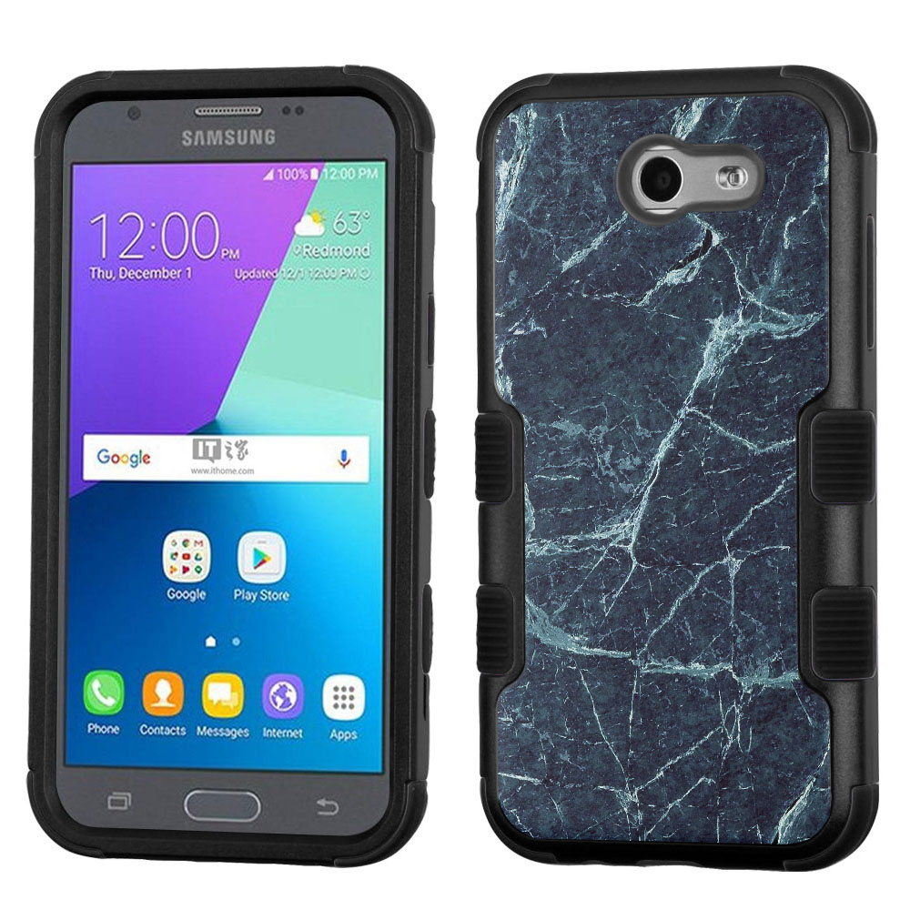 Hybrid Case for Samsung Galaxy J3 Luna Pro 4G LTE / J3 Eclipse, OneToughShield ® 3-Layer Phone Case (Black/Black) - Marble/Blue
