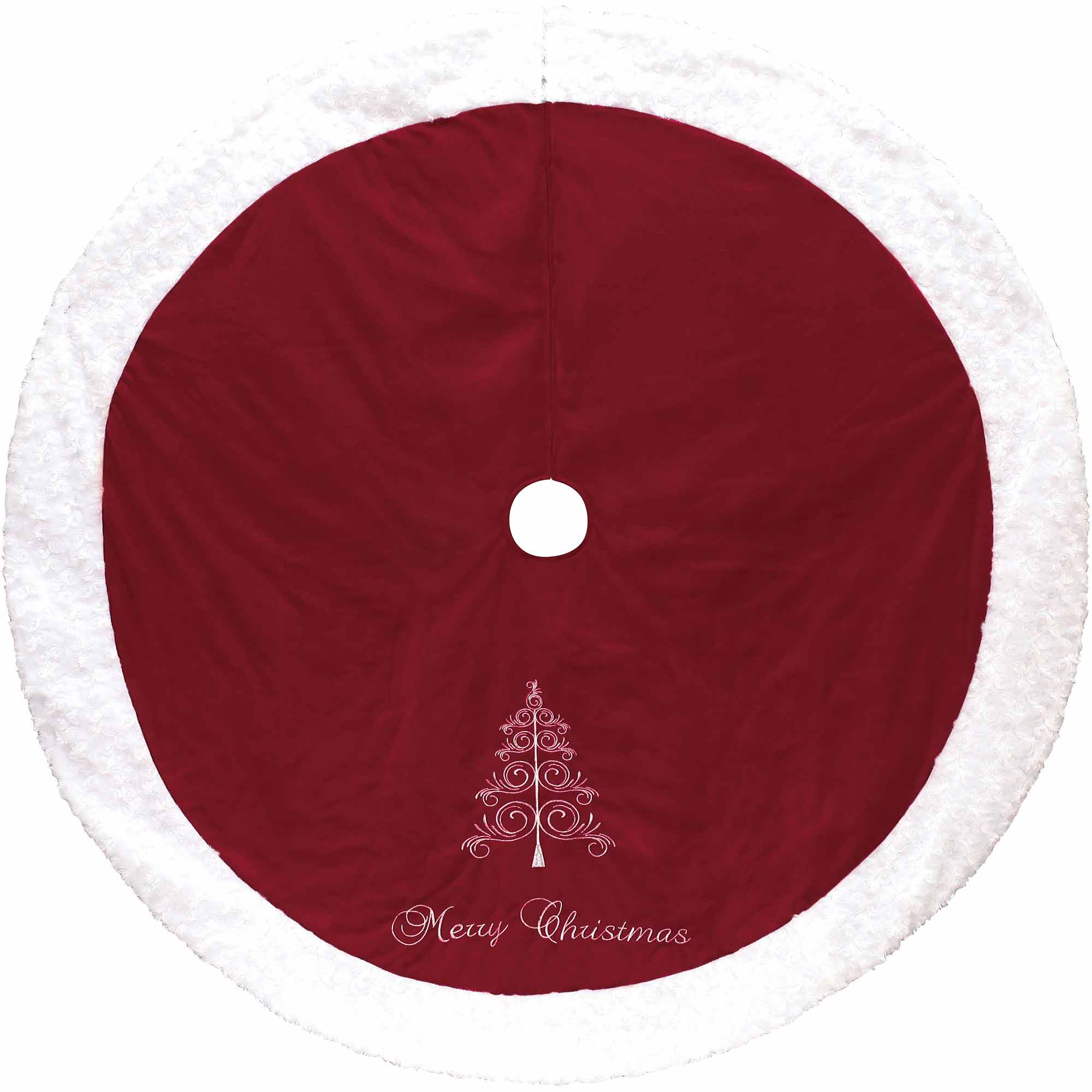 Holiday Time Red and White Merry Christmas Tree Skirt