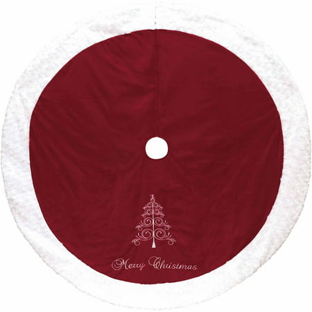 Holiday Time Red and White Merry Christmas Tree Skirt - Holiday Time Red And White Merry Christmas Tree Skirt - Walmart.com